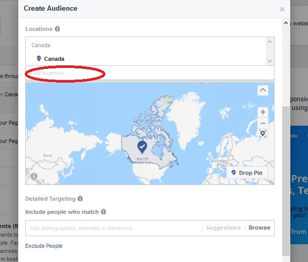 Setup Facebook Ad - Audience Location