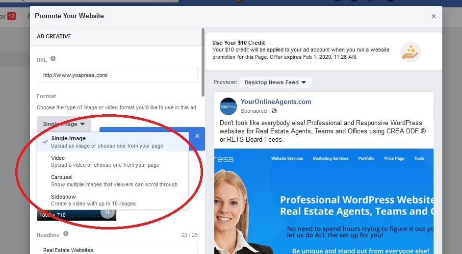 Setup Facebook Ad - Select Media
